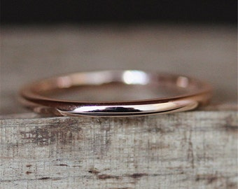 Plain Wedding Ring Solid 14K Rose Gold Ring Smooth Wedding Band Stackable Ring Bridal Ring Wedding Match Band Engagement Ring