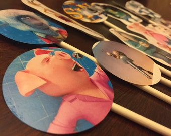 SING the movie cupcake toppers. 12 Birthday cake toppers. Sing the Musical toppers.