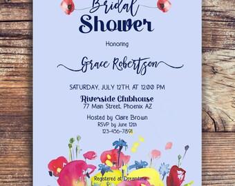 Floral Bridal Shower Invitation, Lilac printable Bridal Invite, Bridal Shower Invitation, Wild flowers Shower Invite, Bride to be Invite