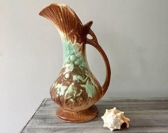 McCoy Pottery Rustic Grapes Pitcher Green Aqua Brown 1940s