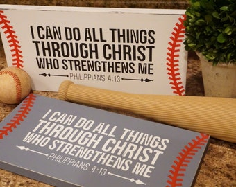 I Can Do All Things Through Christ Baseball Sign Baseball Distressed Wood Sign