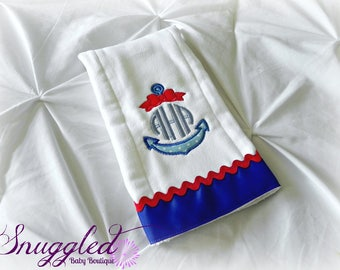 Girly Monogrammed Anchor Burp Cloth