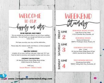 DIY Wedding Typography Welcome Bag Note, Welcome Bag Letter, Printable itinerary, Wedding itinerary, Instant Download, Editable Template