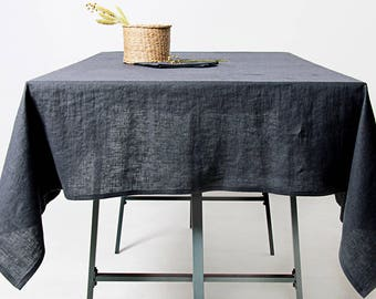 Charcoal Linen Tablecloth, Softened Linen Tablecloth, Grey Tablecloth, Custom Linen Tablecloth, Linen Table Cloth,  Grey Linen Tablecloth