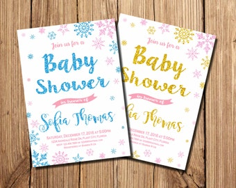 Winter Baby Shower Invitation, Baby It's Cold Outside, Baby Shower Invitation, Winter baby shower, snowflake baby shower, Winter Invitation
