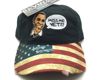 Black Distressed USA Obama Miss Me Yet Dad Cap Hat