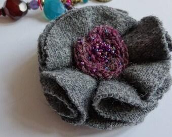 Mothers day brooch, grey fabric flower brooch, upcycled wool brooch, grey flower brooch , upcycled brooch, Grey wool brooch, grey flower pin