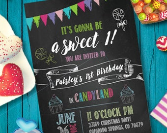 Children's Candyland Birthday  Invitation DIGITAL FILE