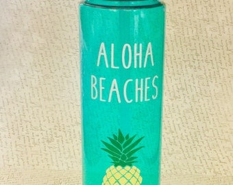 Aloha Beaches Water Bottle-Summer Cup-Water Bottle-Pineapple-Aloha-Beach-Beach Water Bottle-Summer Drink-Gift For Beach Lover