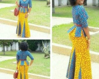 African Ankara Top and Skirt set, Ankara Skirt Set, African Dress, Shaped Ankara Dress, African Fashion, African Clothing.