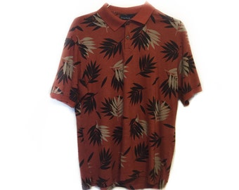 Ocean Pacific Surf Wear Orange (Black & Brown Leaves) Men's Polo Shirt, Size M, Vintage 1990s