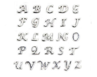 Silver Script Letter Floating Charms, fits Origami Owl Lockets