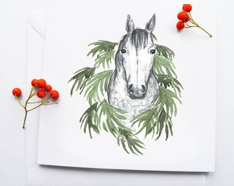 Dapple grey wreath - greetings card