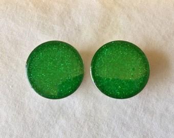 1 inch single flair lime green glitter plugs