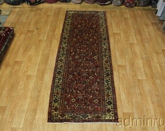 Signed Pictorial Lilian Hamedan Runner Persian Oriental Area Rug Carpet 3X10
