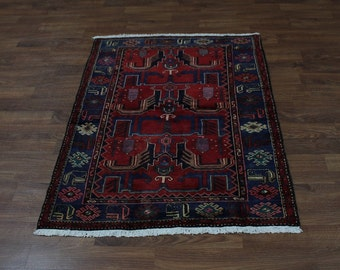 Pictorial Design Foyer Hand Knotted Hamedan Persian Rug Oriental Area Carpet 4X6