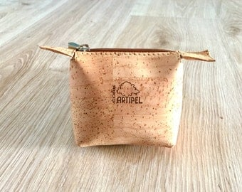 Small coin purse natural beige color, Cork-leather, chiq Pouch, eco-friendly bag, for him,gift idea