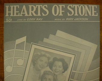 Sheet Music Hearts Of Stone Music Sheet Antique Vintage 1950s Fontaine Sisters