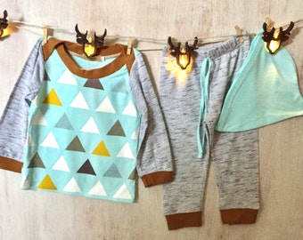 Grey marl/aqua soft cotton abstract 3 piece outfit.