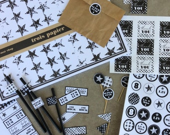 printable party decor package,black and white, DIY, chic and stylish, table decor, paper goods,kids birthday,rock&roll party,cool party