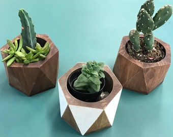 Wooden Hexagon Planter