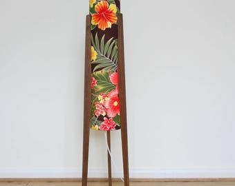 Medium Rocket Floor Lamp Tropical Hibiscus Retro Walnut Legs