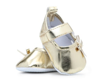 Newborn and Infant Girl Gold Ballet Shoes