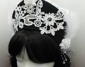 Black white Kokoshnik / black white Frenchhood with applications