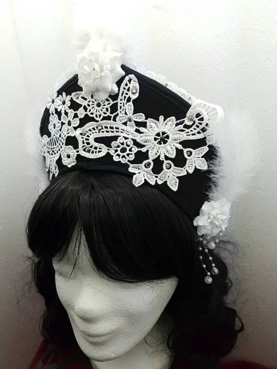 SALE black white Kokoshnik / black white Frenchhood with applications