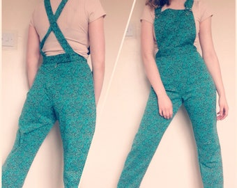Retro 60s Style Dungarees/Overalls in teal psychedelic original Fabric size Small
