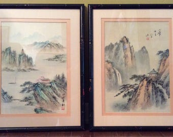 ON SALE:  Vintage Asian Landscape Paintings on Silkscreen - Framed and Signed