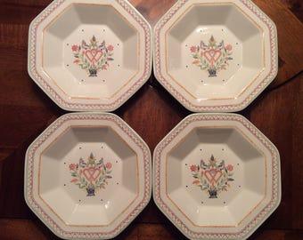 Raintree American Scenic Soup Bowls - Four (4) - Lovebirds/Flowers/Hearts