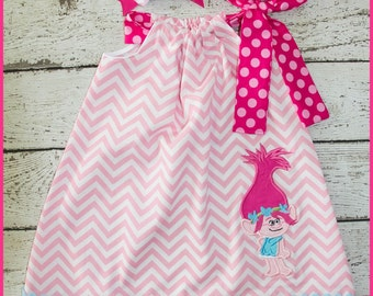 New Sweet Poppy Troll Pilowcase dress Pink Chevron and Hot pink