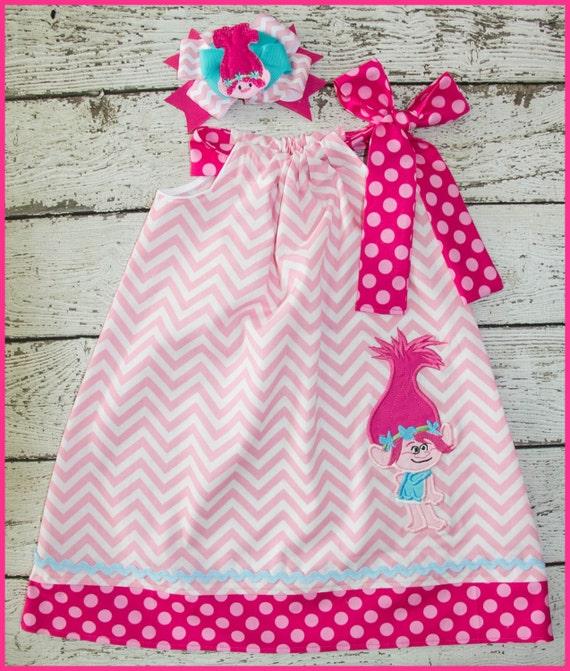 New Sweet Poppy Troll Pilowcase dress Pink Chevron and Hot pink
