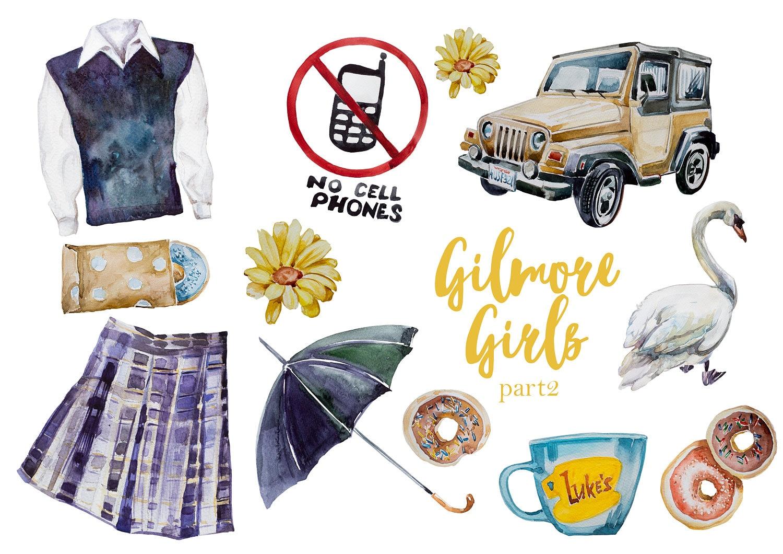 watercolor gilmore girls part2 clipart setlorelai and