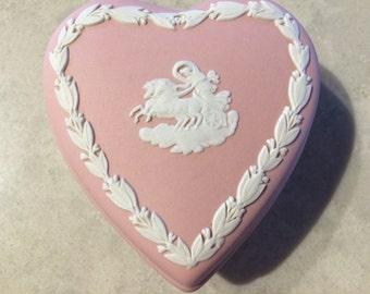 Wedgwood Jasperware Pink Aurora Heart Trinket Box Vintage