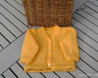 baby girls sunshine yellow cardigan.