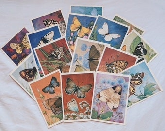 Vintage USSR postcards with illustrations of butterflies - set #2