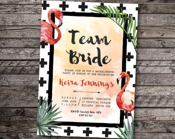 Tropical bachelorette invitation, tropical hens invitation, flamingo bachelorette invitation, flamingo hens invitation, hens invite (Keira)