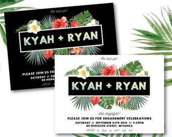 Tropical engagement invitation, tropical invitation, engagement invitation, luau, Hawaiian, beach, white, black, summer, tropical (Kyah)