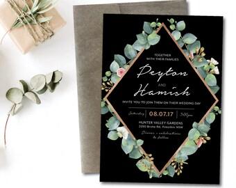 Greenery geometric wedding invitation, eucalyptus geometric wedding invitation, natural, greenery, black, rose gold, garden, boho  (Peyton)