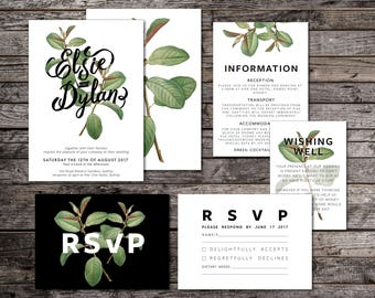 Botanical Wedding Invitation Suite, White, Green, Typographic, Typography, Wedding Suite, Greenery, DIY, Printable, Botanic (Intertwined)