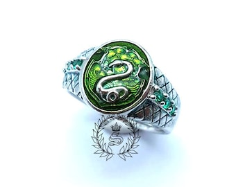 Slytherin ring,Women Slytherin ring,New design,Harry Potter ring,Sterling Silver 92.5% Green Enamel.