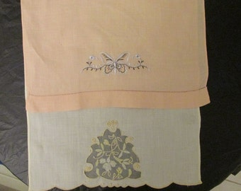 FREE SHIPPING USA  Vintage Tea Towels Cream with Yellow, Peach with Brown and White Butterfly  621