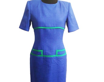 Kasper for A.S.L. Blue and Green, Vintage 1980's Sheath Dress / Vintage Summer Dress / Vintage Secretry Dress