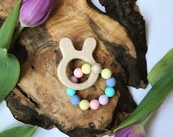 LIMITED EDITION-- Wooden Bunny Rabbit Teething Ring in Easter Egg; teether; Teething toy; baby shower gift; baby gift; easter basket gift