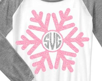 snowflake svg, Christmas monogram svg, SVG, DXF, EPS, monogram, snowflake, snowflake dxf, Snow svg, snowman svg, pink snowlake, cut file