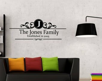 The 'Family Name' Family Established in 'Date' with Initial in fancy swirl vinyl wall art