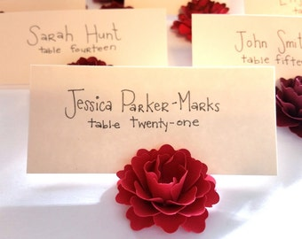 Place Card Holder | Red Paper Flowers (Set of 50)