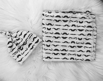 Mustache Knit Swaddle Set/Black and White Swaddle Set/Baby Boy Swaddle Set/ Swaddle Blanket
